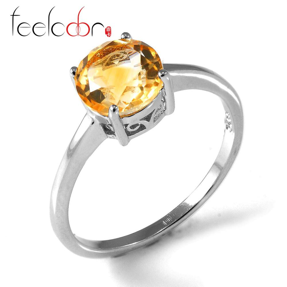 Classic Round 1.2ct Natural Citrine Stone Rings For Women Genuine 925 Sterling Silver 7x7 Fashion Fine Jewelry Wholesale New Hot<br><br>Aliexpress