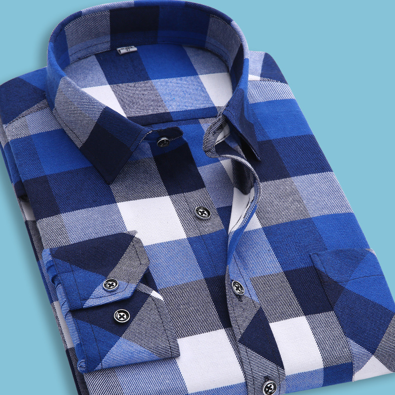 S 4xl flannel shirt men high quality warm long sleeve for Mens warm flannel shirts