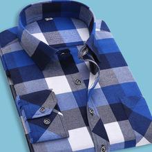S-4XL Flannel Shirt Men High Quality Warm Long Sleeve Plaid Flannel Shirt Men's Fashion Slim Fit Korean Style Imported Clothing
