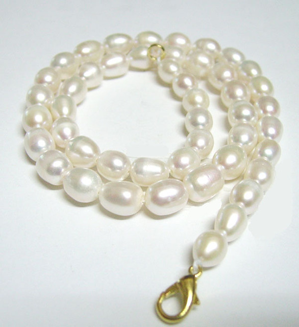 Free Shipping 10pcs/lot White Rice Freshwater Pearl Fashion Necklace Lobster Clasp 8-9mm 16inch P1