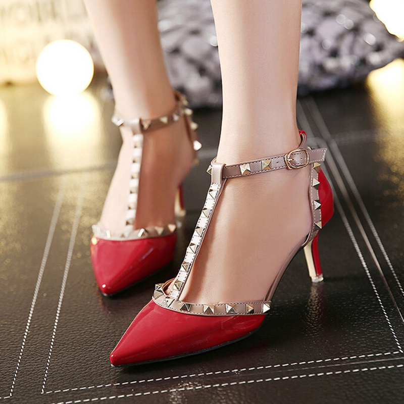 Zapatos Mujer New Women Pointed Toe Thin Mid High Heels Pumps Fashion Rivets Women Shoes Patent Leather Dress Shoes