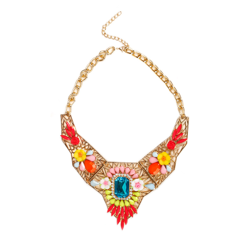 Collares Necklace Pendant Famous Brand Jewelry Resin Choker Black Chain Flower Shourouk Statement Necklace Perfume Women YZ003-3(China (Mainland))