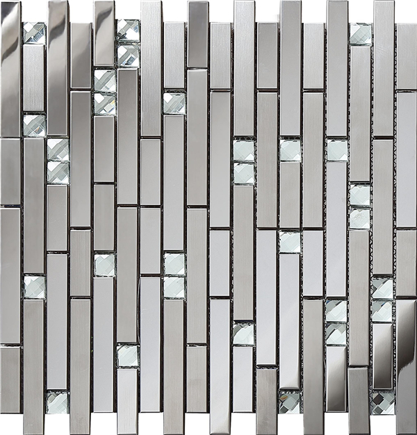 Sample Metal Stainless Steel Linear Glass Mosaic Tile: SA047 82,LANDS Tile Linear Glass Diamond Stainless Steel