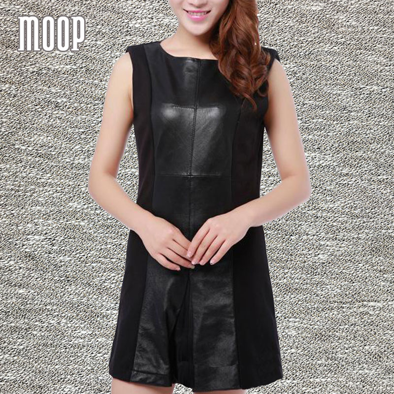 Black genuine leather dress women sheepskin A-Line dresses one piece robe femme ropa mujer vestido de festa elbise LT051Одежда и ак�е��уары<br><br><br>Aliexpress