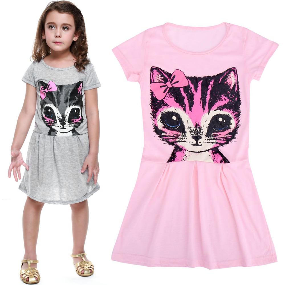 sale new 2016 summer dress cat print grey baby