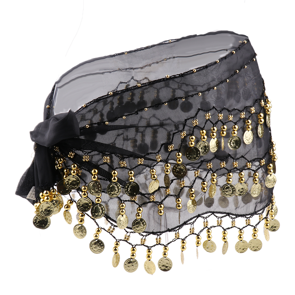 2pcs Lady Women Belly Dance Hip Scarf Accessories 3 Row Belt Skirt With Gold Belly Dance Tone Coins Waist Chain Wrap Adult  Wear