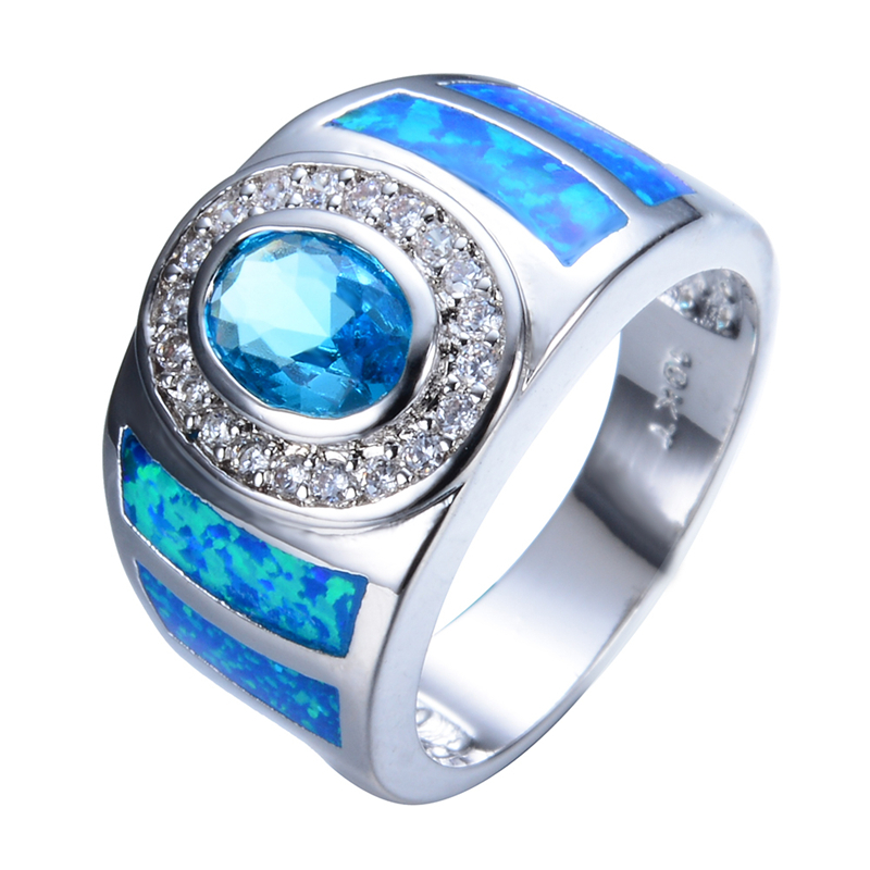 2016 Fashion Big Round Men Women Blue Opal Ring White Gold Filled Crystal Jewelry Vintage Wedding Rings For Men And Women RP0032(China (Mainland))