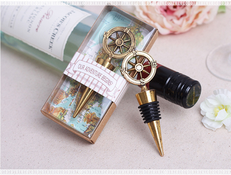 New wedding Favor -100pcs retro alloy compass wine stopper wedding supplies business gifts champagne stopper wedding decoration(China (Mainland))