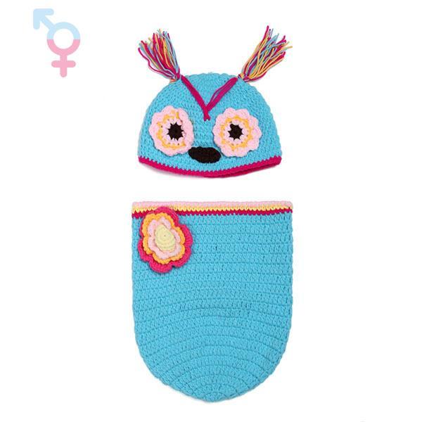 2pcs Kawaii night owl baby clothing sleeping bag Adorable Newborn photography props crochet costume accessories baby hat cap(China (Mainland))