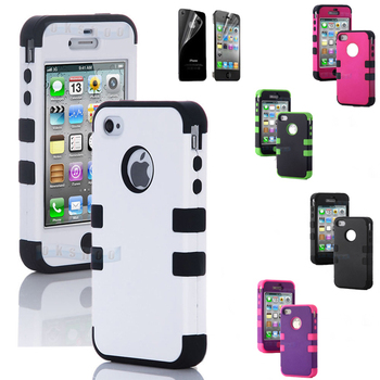 High quality hybrid silicone+plastic case cover for iphone 4 4G 4s, triple impact protective hard shell case for iphone 4 4G 4s