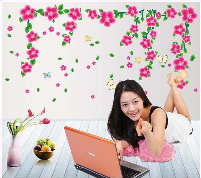Горячая распродажа 7099 цветение персика цветок винограда стикер стены гостиной стены термоаппликации съемный искусство пвх декор для дома