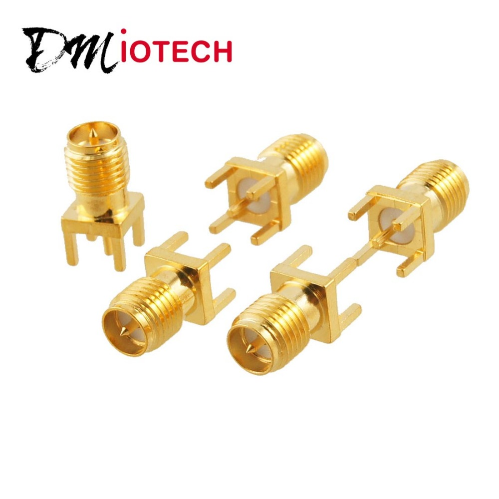 5 Pcs/lot RP-SMA Female Plug Straight Solder PCB Mount Connector Discount 70(China (Mainland))