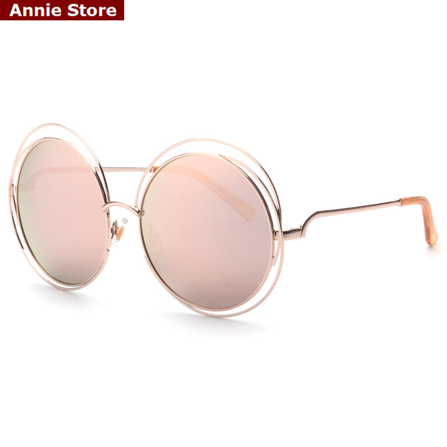 2016 new women's sunglasses sun glasses classic brand metal frame hollow out oversized round glasses sun pink mirror UV400(China (Mainland))