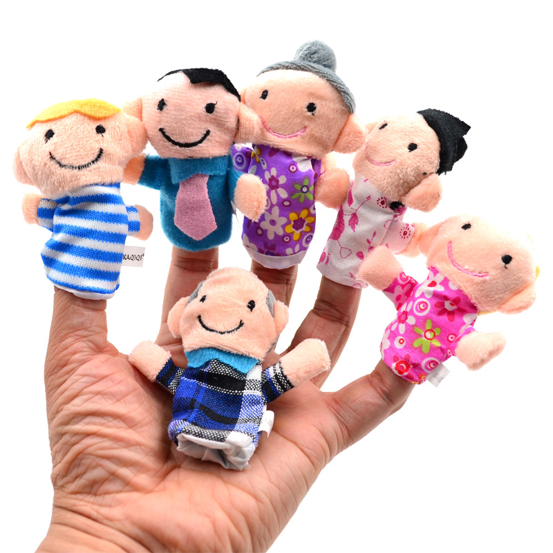Family Characters Themed Cloth Velvet Doll Story Time Christmas Finger Puppets Toys(China (Mainland))