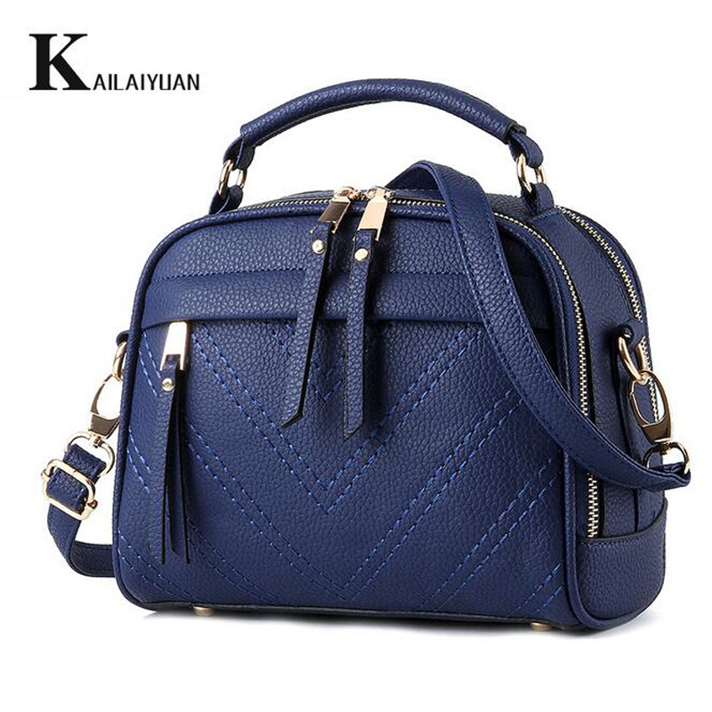 KAILAIYUAN Women Fashion Casual Mini Handbags Top-End PU Leather Messenger Bag Crossbody Bag Shoulder Bag Classic Navy For Lady(China (Mainland))