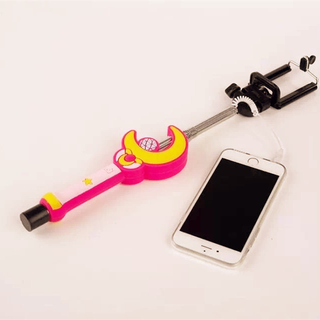 high quality extendable selfie rod stick clip cute sailor moon handheld monopod for iphone 5s 6. Black Bedroom Furniture Sets. Home Design Ideas