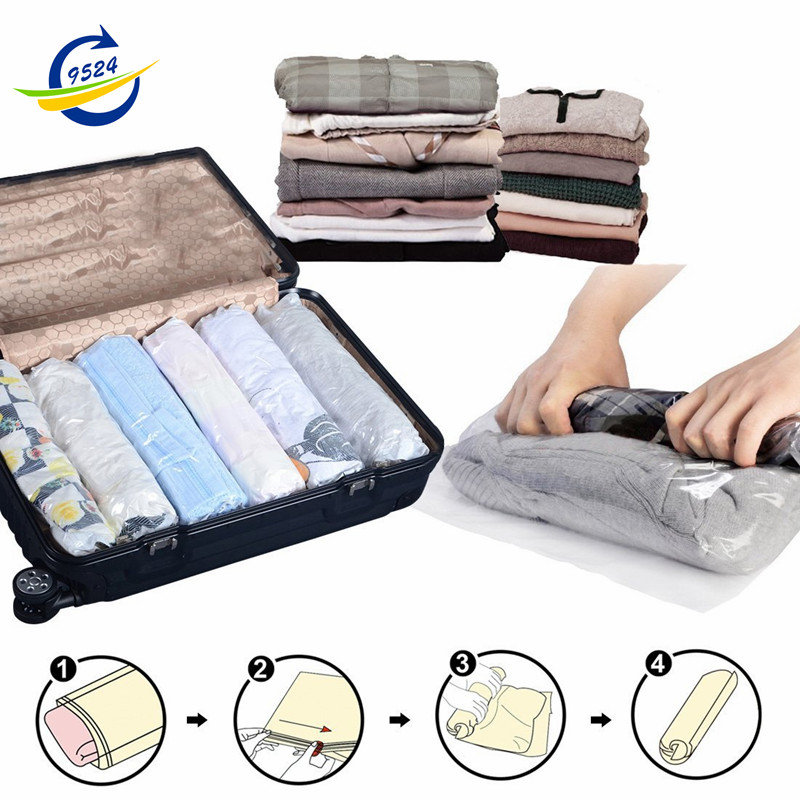 Space Saver Travel Storage Bags Compressible Roll-up No Vacuum Needed 4-size Bundle (S,M,L,XL)(China (Mainland))