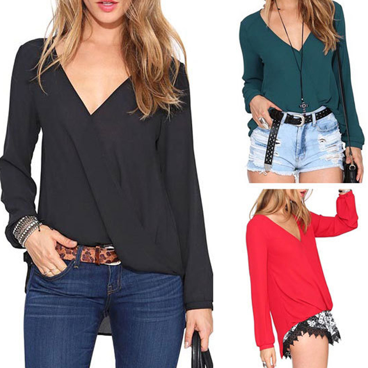 Spring Summer Style Sexy Deep V-neck Long-sleeved Chiffon Women Blouses 5 Colors Charming Lady Tops WF-9236Одежда и ак�е��уары<br><br><br>Aliexpress