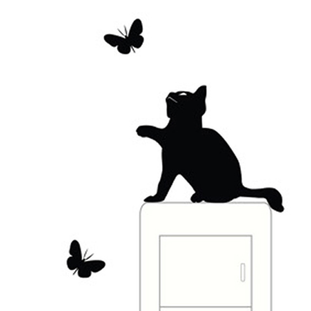KXAAXS Cute Cat switch stickers wall stickers Room Window Wall Decorating Switch Vinyl Decal Sticker Decor Cartoon 2017 DIY
