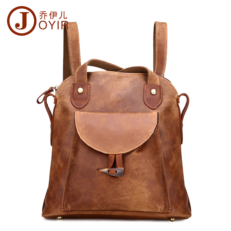 New designer fashion crazy horse leather backpacks brown vintage woman bag shopping outdoor travel casual women backpack 2016(China (Mainland))