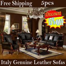 5pcs italian genuine leather sofa set with solid rubber wood finest carving villa living room furniture wedding decoration(China (Mainland))