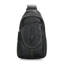 Новый мужской корейских мужчин кожаный мешок груди заголовок слой кожи крокодила шаблон кошелек сумка