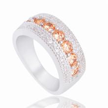 Free Shipping 1pc Champagne Wonderful Silver CZ Fabulous Woman's Ring Size 6-9(China (Mainland))