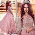 Custom Made Kaftan Dresses Dubai Evening Dresses Long Sleeves Muslin Evening Dresses Vestido Longo Festa Couture