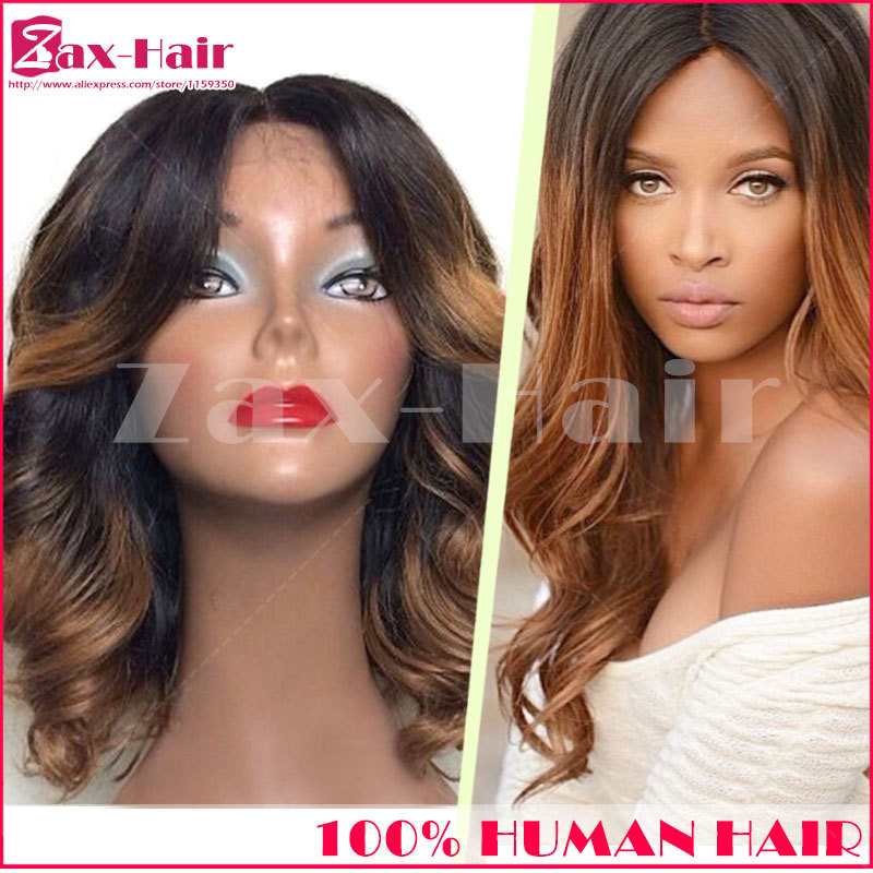 Top quality glueless full lace wig ombre New Arrival 2015 is_customized fashion two tone lace front wig 100% human hair in stock<br><br>Aliexpress