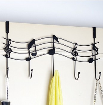 music notes wall hook decorative door hanger white black kitchen hook bags organizer hanger 5