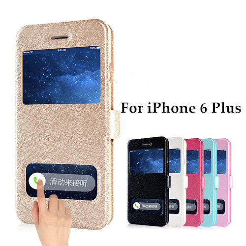 Luxury Windows Silk Pattern PU Leather Flip Cover Case For iPhone 6 Plus 5.5 inch Phone Bags Cases With Stand Design Function(China (Mainland))