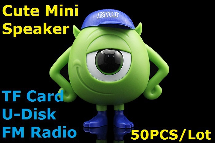 50PCS/Lot Hot Selling Monsters Mini Speaker w/ FM U-Disk TF Card MP3 Player for Cellphones Tablet PC Mini Monsters Speaker(China (Mainland))