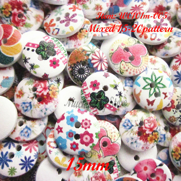 250 pcs Mixed Multicolor 15mm postoral series floral handmade crafts accessories small wooden buttons sewing supplies wholesale(China (Mainland))