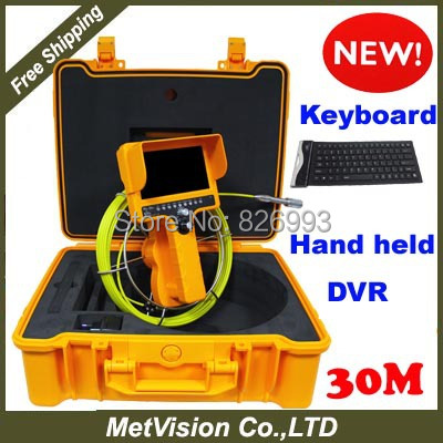 Manufacturer waterproof sewer pipe inpsection camera,30m fiberglass cable,DVR+keyboard+SD card,wholesale!!!(China (Mainland))