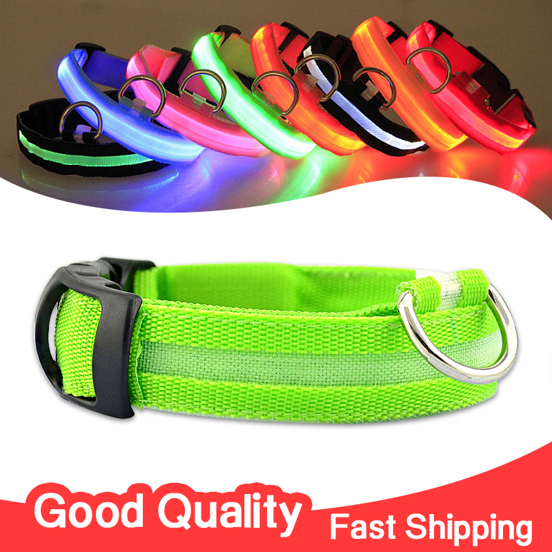 LED Nylon Ribbon Pet Dog Collar Night Safety Flashing Glow Electric Product For Dogs Pet Supplies Collars for Small Dogs Cats(China (Mainland))
