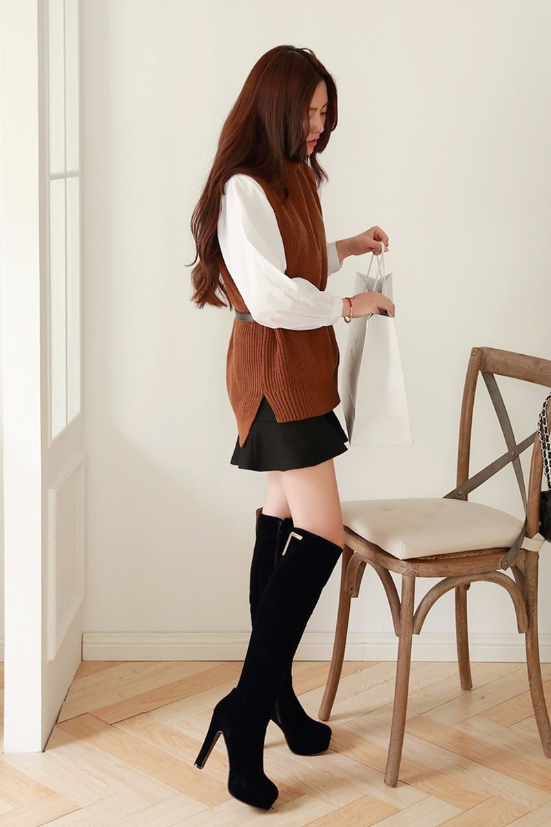 Big Size 34-43 2016 Nubuck Knee Boots Sexy High Heels Warm Noble Autumn Winter Boots Metal Charm Shoes Woman