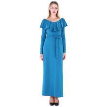 LEIYEE Elegant Ruffles Dress Women 2017 Autumn Simple Solid V-neck Long Sleeve Belt Party Maxi Dresses vestido longo de festa(China)