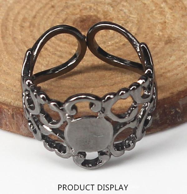 Black Gun Adjustable Filigree Blank Disc Setting Beading Ring Supplies for Jewelry Making Findings 50piece/JZ76(China (Mainland))
