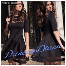 Princess Diana Womens Summer Dresses 2016 Summer European Style Ladies Knee Length Vintage Mesh Sexy Black Party Dresses