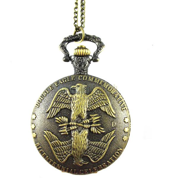 Bronze double eagle commemorative carving quartz pocket watch (NBW0PO7795-CO3)(China (Mainland))