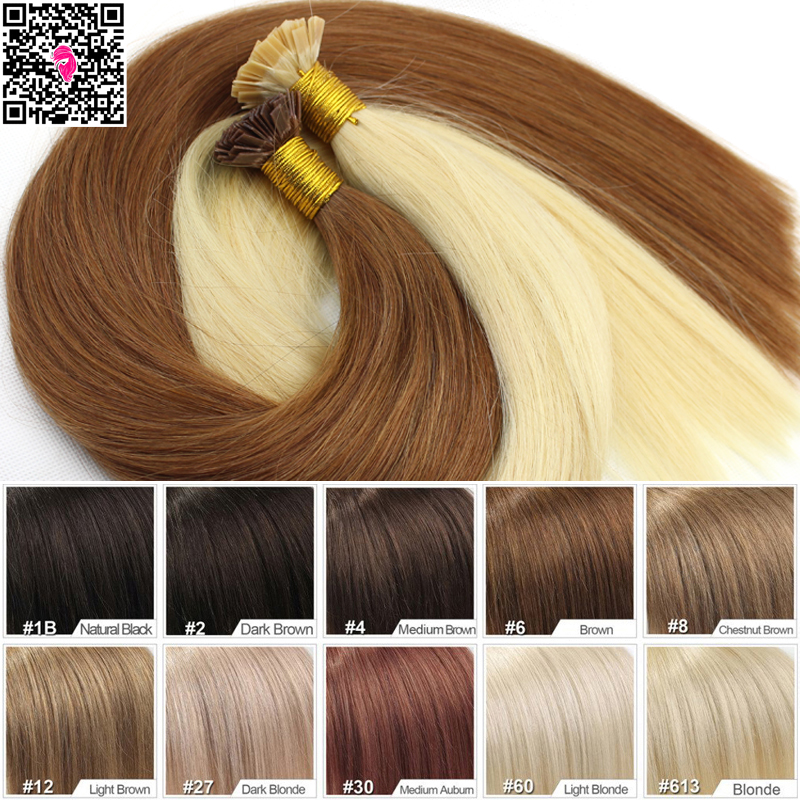 7A Virgin Remy Hair Extensions Straight Flat Tip Keratin Fusion Human Hair Extension Double Drawn Pre Bonded Remi Hair 1g strand(China (Mainland))