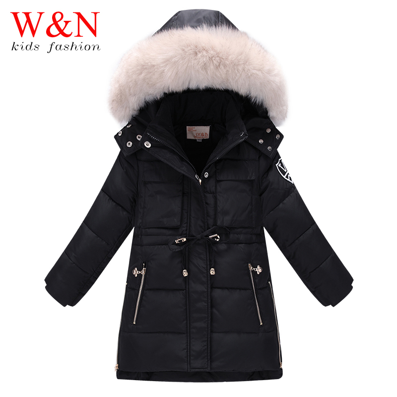 6-14 Years Long Warm Jacket Children's Winter Coats Teenage Girls Parka Soild Black - Kid Coat & Girl Boys Trench Children Tshirt Windbreaker store