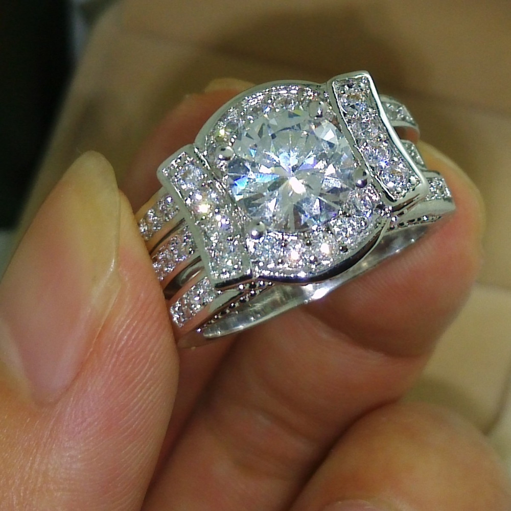 Victoria Wieck Classic Lovers Topaz Simulated diamond 14KT White Gold Filled 2 Wedding Band Ring Set Sz 5-11 Free shipping Gift(China (Mainland))