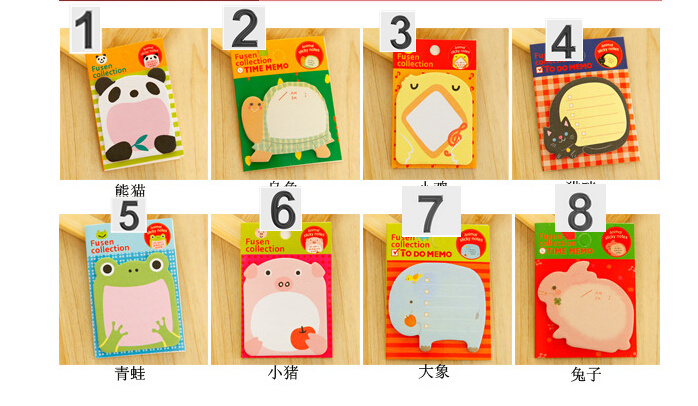 panda ,rabbit ,pig ,duck .. / memo pad / 8*5.4cm(China (Mainland))
