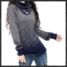 Women's Gradient Black Blue Vintage Cashmere Sweater Women Turtleneck Artkas Thick Sweaters And Pullovers Female Warm Jumpers(China (Mainland))