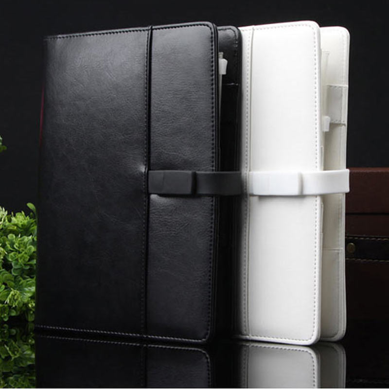 2015 high quality classics black organizer spiral leather notebook with detachable USB flash disk lock(China (Mainland))