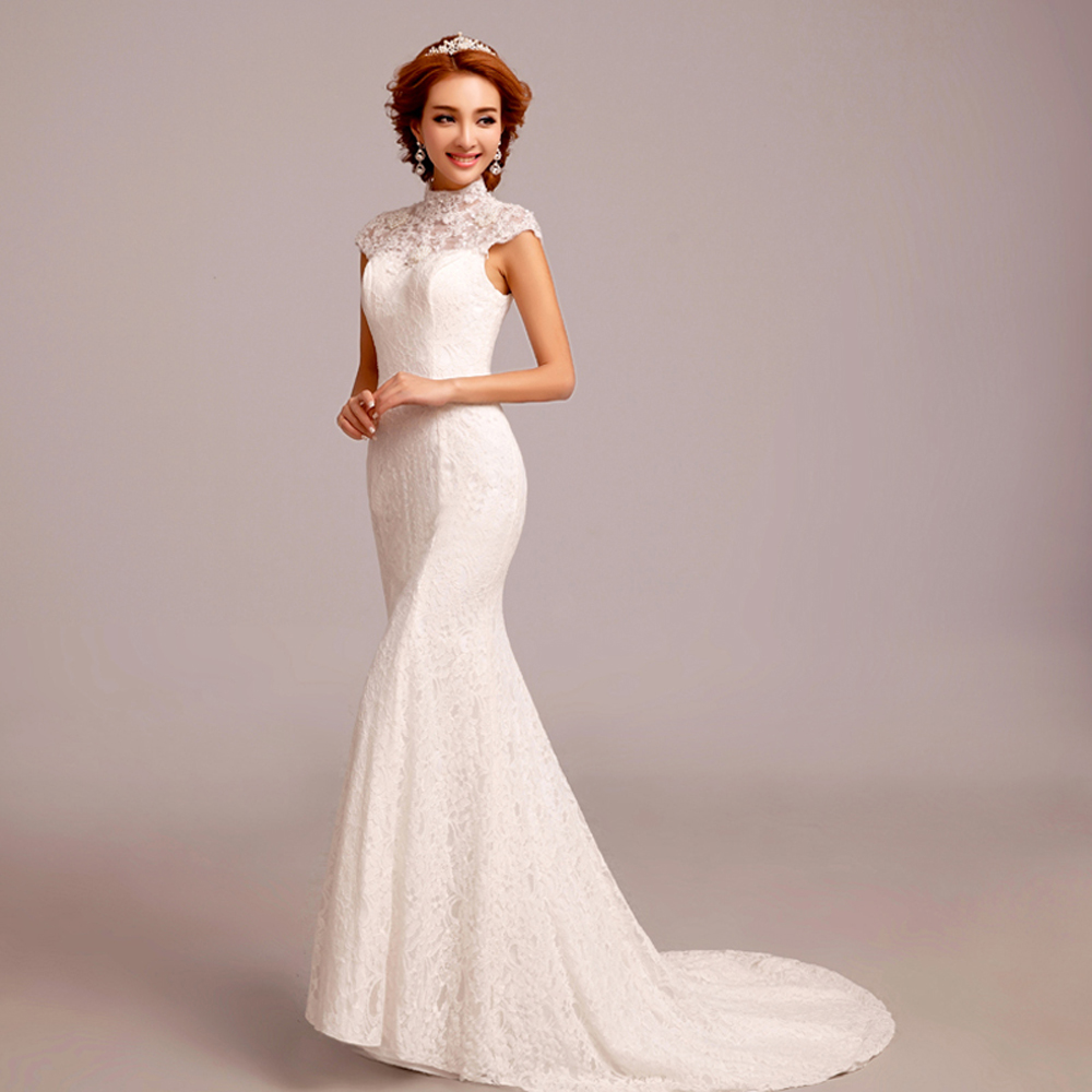 Fishtail Wedding Dress With Train : Lace wedding dress fashion white fishtail train dresses