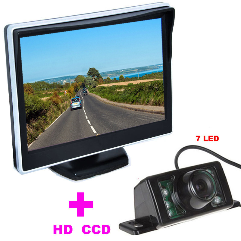 """7LED Car Rearview Camera HD 170 Angle + 5"""" TFT LCD Car mirror Monitor car backup camera 2 in 1 Auto Parking Assistance System(China (Mainland))"""