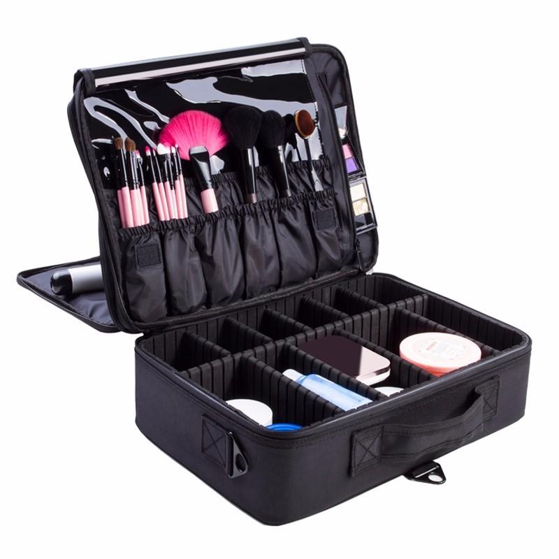 Women Professional Cosmetic Bag Large Capacity Storage Case Oxford Makeup Organizer Bolso Mujer Fashion Disassembly Suitcase(China (Mainland))