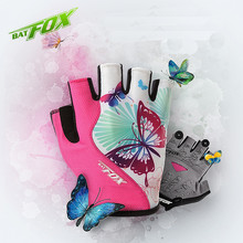BATFOX Women Cycling Gloves Half Finger Polyester Breathable Sport Bike Gloves Summer Outdoor MTB Gel Fitness Bicycle Gloves(China (Mainland))